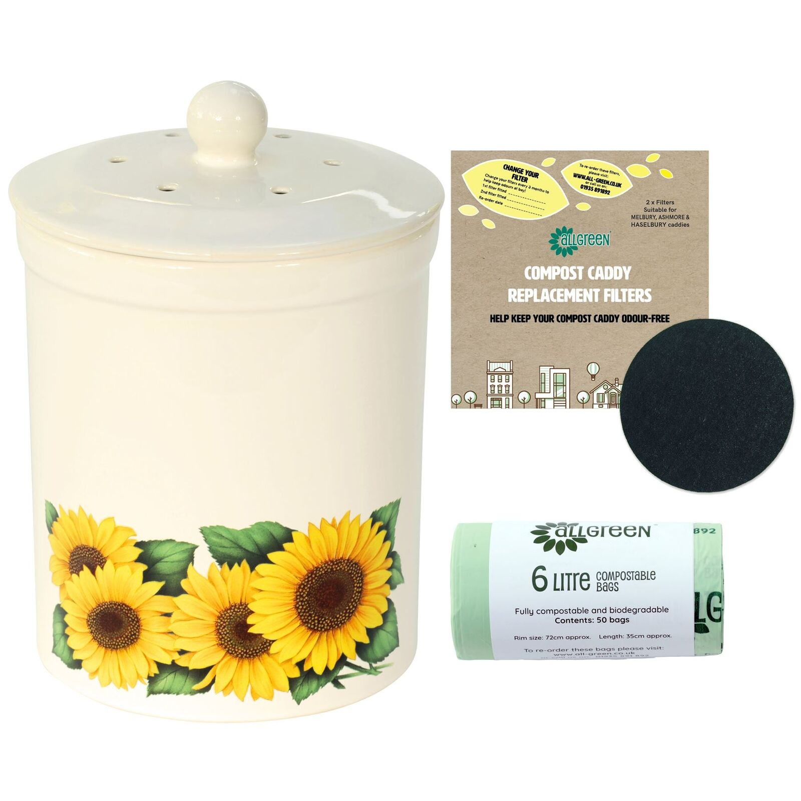 3L Ashmore Sunflower Ceramic Compost Caddy, 2 Filters & 50x6L Compostable Bags