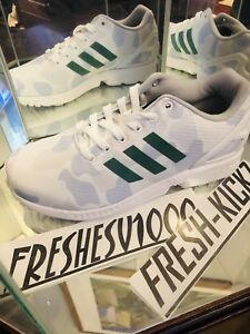 new style baac3 fc129 Details about ADIDAS Celtics ZX FLUX Size 10 White Green Bape like details  Running