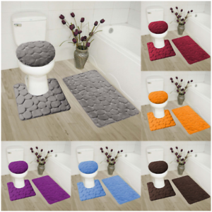 ROCK-DESIGN-3PC-BATHROOM-SET-SOFT-COMFORT-MEMORY-FOAM-BATH-RUGS-SOLID-COLOR
