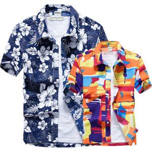 best sneakers d1d50 5ac4a Dettagli su 2019 Nuovo da Uomo Camicia a Manica Corta Spiaggia Hawaiana  Maglie Estive 7D