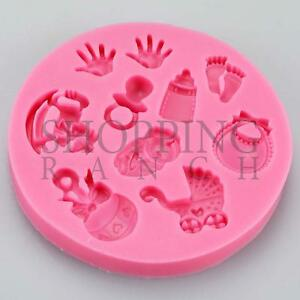 Baby-Shower-New-Born-baby-Celebration-Silicone-Mould-Handprint-Pram-Cupcake-Topp