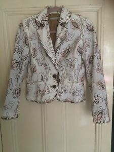 Lined Jacket Embroidery White More Sleeves Long amp;more Cotton Fitted Uk10 Semi wtq7tnXIOZ
