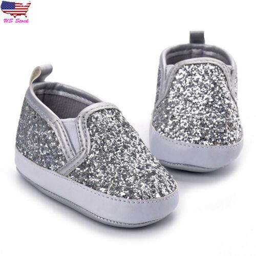 Newborn Kid Girl Boy Soft Sole Anti-slip Baby Sneaker Sequins Crib Shoes Slipper