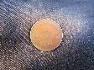 2 Pfennige 1868 Sachsen-meiningen Bernhard Erich Freund 1803-1866 Vz