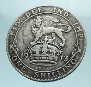 1913-Great-Britain-UK-United-Kingdom-SILVER-SHILLING-Coin-King-George-V-i78196