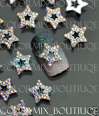 10pcs 3D Nail Art Deco (10 x 10)mm Star Alloy Jewelry AB Glitter Rhinestone#CA10