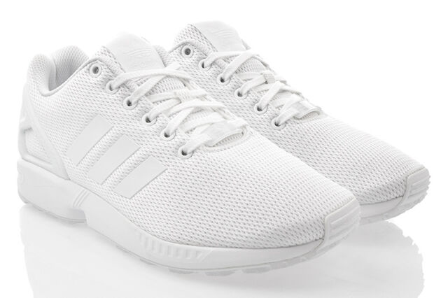 in stock f7cb3 d610d Adidas Originals ZX Flux Triple White Men Running Shoes Sneakers ...