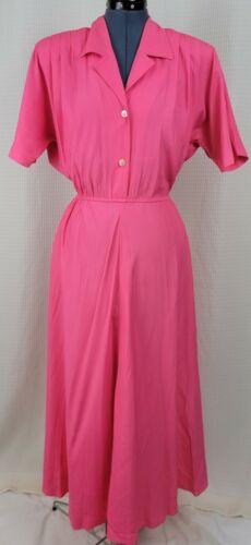 Vintage Bright Pink Button Down Bodice Shirt Dress