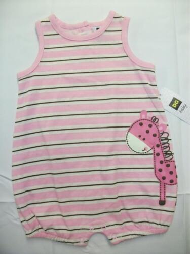 NEW Baby Girls Outfit 6-9 Mo Sleeveless Bodysuit Pink Striped Giraffe Romper