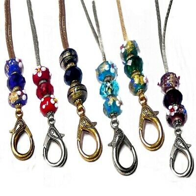 keys security id badge colorful lampwork beads Necklace Cord Lanyard holder
