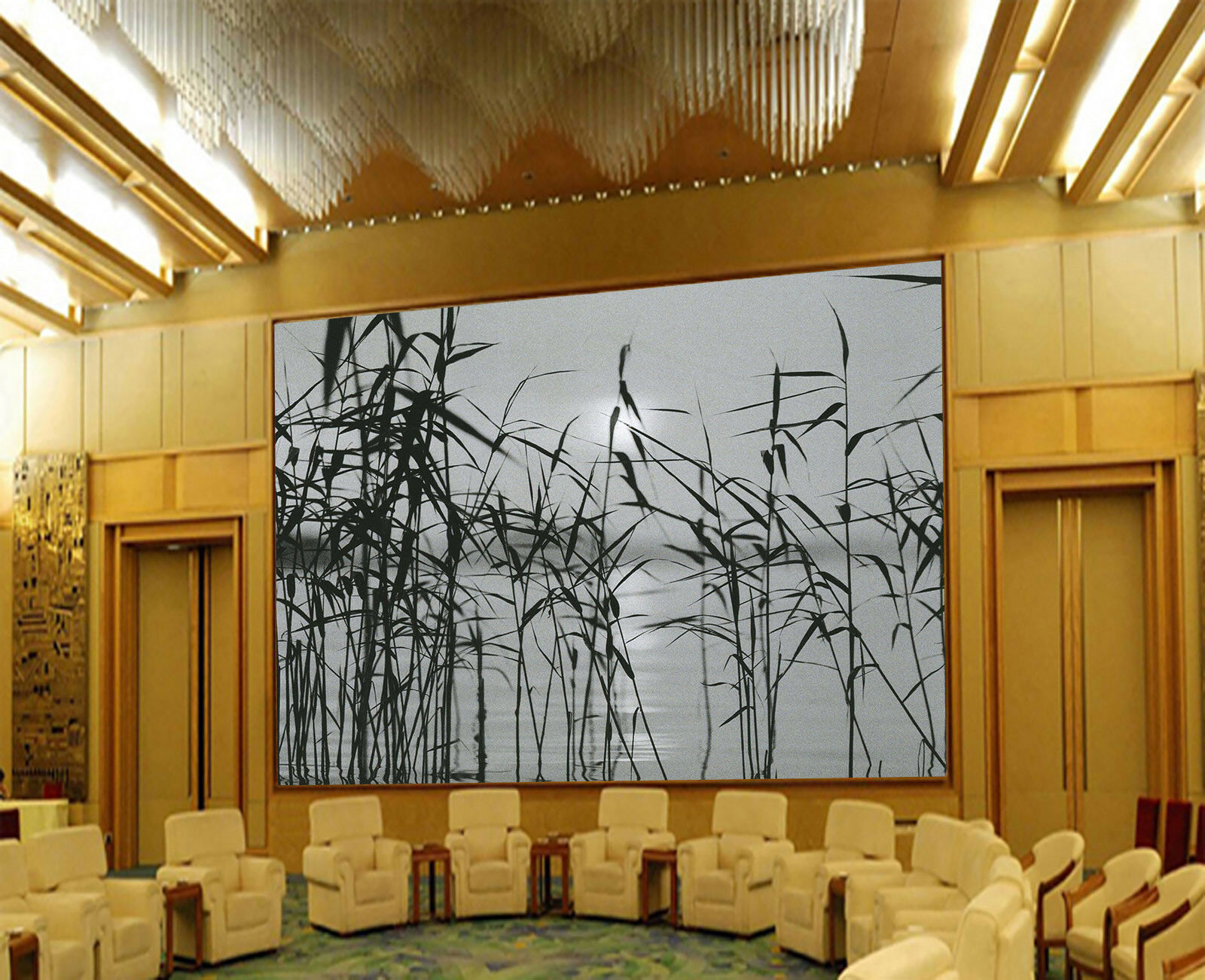 3D grau Reeds Sky 452 Wall Paper Wall Print Decal Wall Deco Indoor Mural Carly