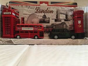 c240140cd Details about LONDON BUS BLACK TAXI,PHONE & POST BOX SET, PENCIL SHARPENER  GIFT SET