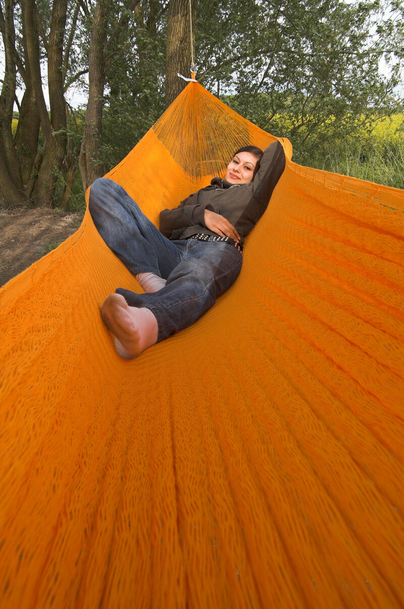 Original Mexikanische Netz-Hängematte Orange uni uni uni Größe Mexi 4 Fair Trade 1db1b7