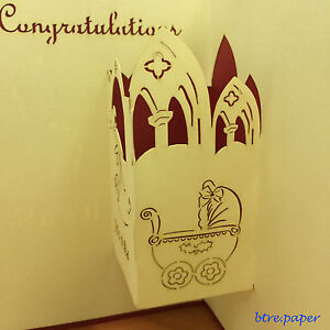 baby new born birth pop up 3D card gift greeting card congratulations girl