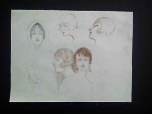 Dessin original sanguine esquisses Paris Art Déco 1920 croquis curiosa portraits