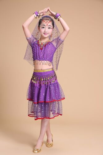 Belly Dance Costume Bead Coins for Girls Kid/'s Halloween Outfits Set Bollywood