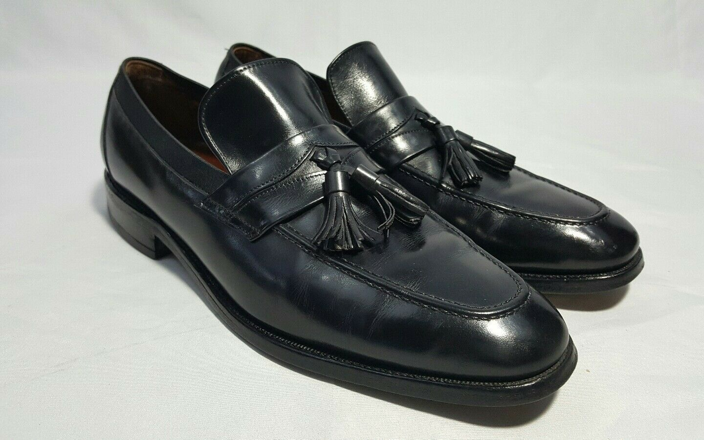 preferenziale Mens ALLEN EDMONDS Tassel Split Toe nero Leather Slip On On On Loafers scarpe Sz 8.5 B  alla moda