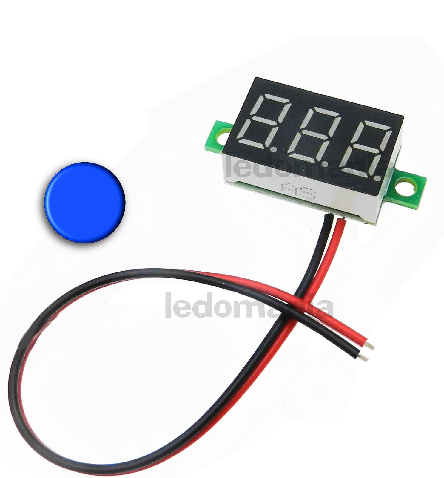 mini voltmètre LED rouge bleu ou vert  0 à 30V DC suivant la version