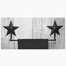 New Primitive Bathroom Kitchen BLACK BARN STAR TOWEL BAR Holder Rack