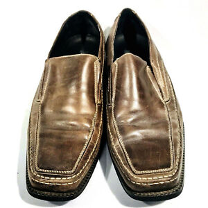 Mens-Natha-Studio-Brown-Leather-Shoes-Loafer-Dress-Casual-Slip-On-Size-10M-a104
