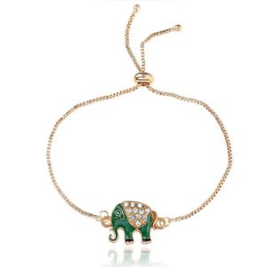 Elephant Strass Plaqué Or Chaîne Charme Manchette Bracelet Jonc Femme Bijoux