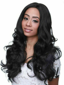 100% Human Hair!Long Black Wigs Central Parting Tousled Curls Wigs