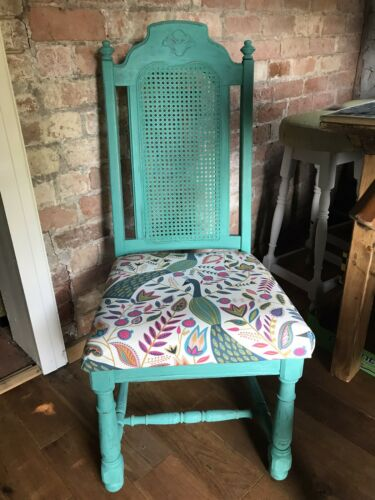 Vintage Shabby Chic Chair - Reupholstered- Peacock Green- Annie Sloan Paint