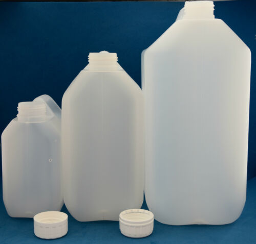 2.5 Litre Natural Plastic Jerry Cans with 38mm Wadded Tamper Evident Caps 1-8