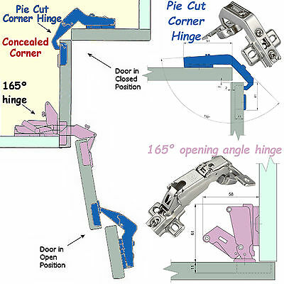 Pie Cut Corner Hinges Set Kitchen, Angled Kitchen Cabinet Hinges