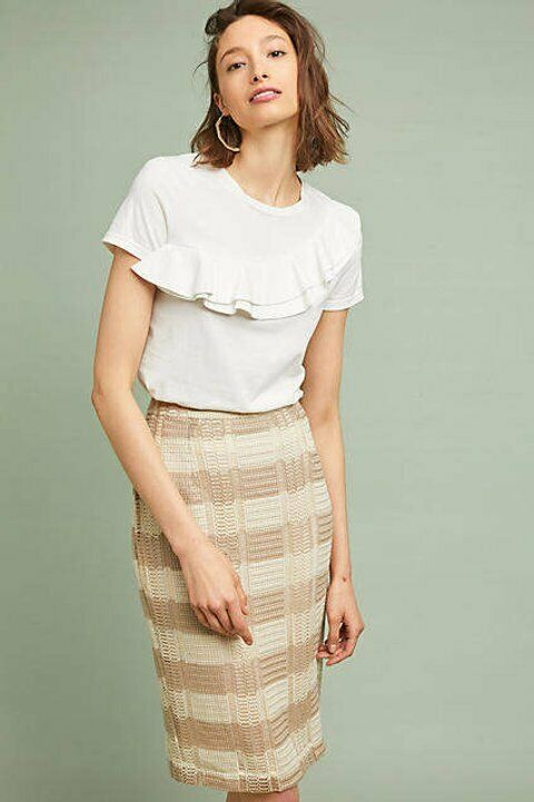 NWT Anthropologie Sunday in BrooKlyn NAOMI STRIPED PENCIL SKIRT Ivory Tan S