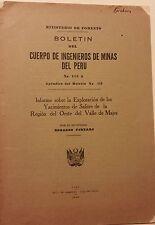 Boletin del Cuerpo de Ingenieros de Minas del Peru Salitre de Majes 1936 Portaro