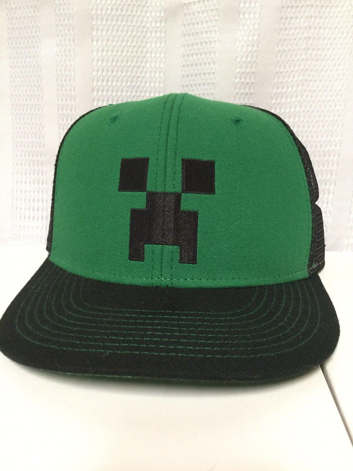 1b153e9eb43 Minecraft Creeper Green Black Adjustable Snapback Cap Hat