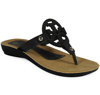 NEW WOMENS LADIES GIRLS BLACK SLIP ON FLAT HOME SANDALS SLIPPERS SHOES SIZE 3-8