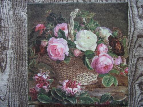 """Bild /""""Blumenkorb/"""" 15x15 cm auf Keilrahmen*Impressionen*Rosen*Korb*Blätter*grün"""