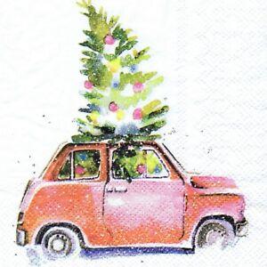3-SERVIETTES-EN-PAPIER-NOEL-CHIEN-DANS-FIAT-500-PAPER-NAPKINS-CHRISTMAS-DOG-amp-CAR