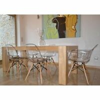 Set Of 4 Dining Chairs Inspired Charles Eames Dsw Eiffel Style Transparent Clear