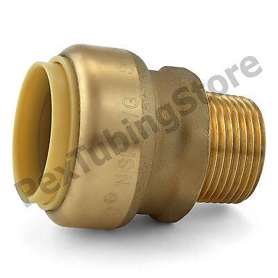 "10 1/"" Sharkbite Style Push-Fit x 1/"" MNPT LR Brass Male Threaded Adapters"