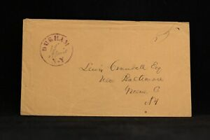 New York: Durham 1848 (circa) Stampless Cover, Red Stencil CDS, Greene Co