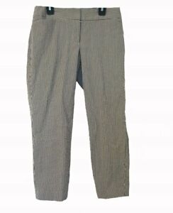 Seersucker-Capris-PETITE-Size-2P-2-S-Capri-Pants-Ann-Taylor-LOFT-Julie-Black-Wte