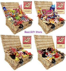Image Is Loading Personalised Retro SWEET WICKER HAMPERS Gift Ideas For