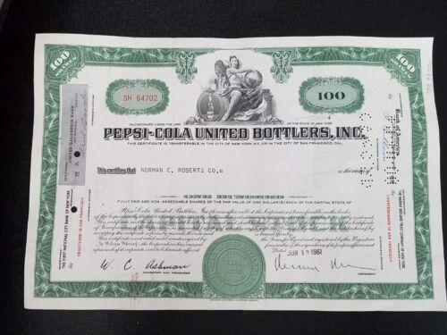 Stock 1961 Vintage Pepsi-Cola United Bottlers Inc