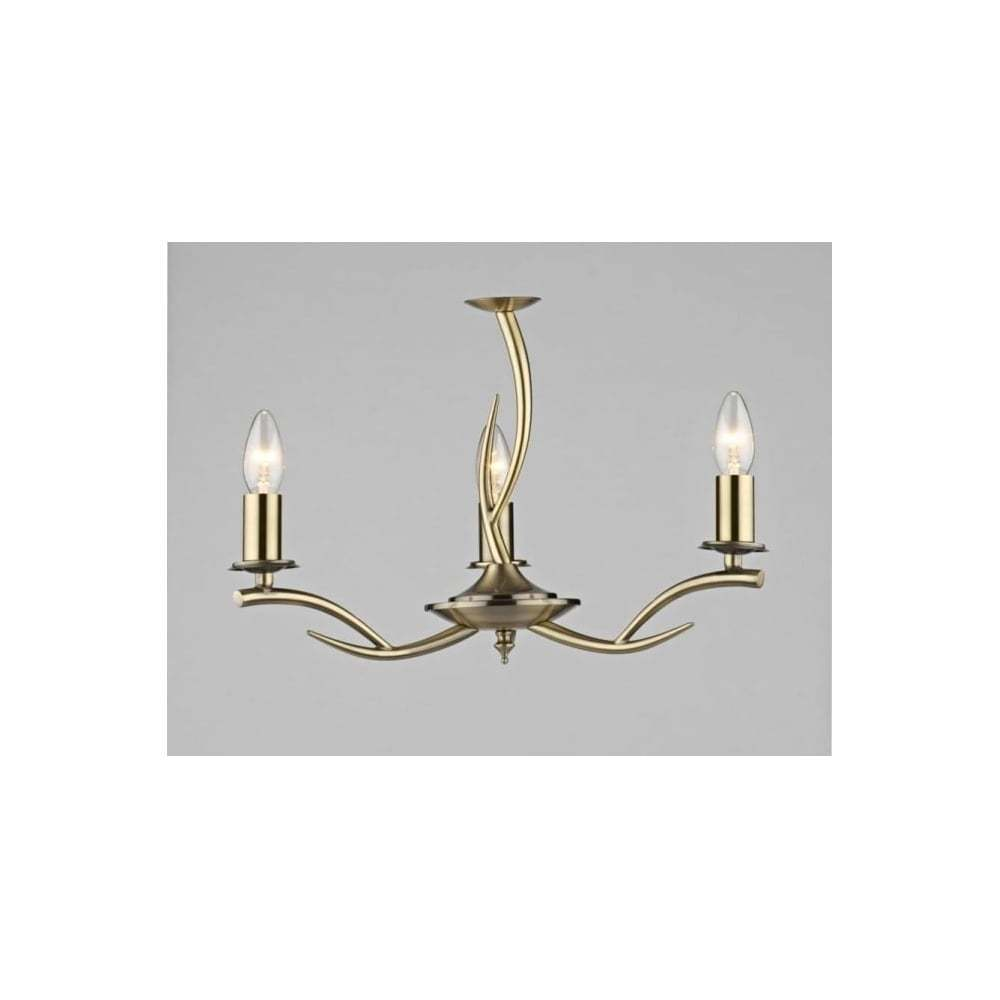 Dar antique Elka ELK0375 3 lumière pendentif plafonnier en laiton antique Dar c44b7b