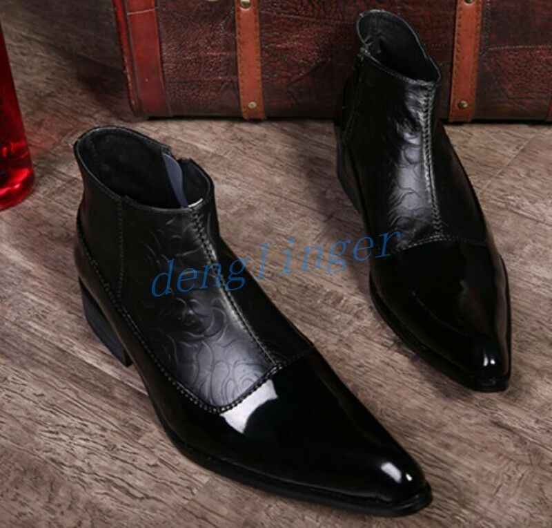 Uomo Pelle Dress Ankle Stivali Loafers Business Formal Shoes British AU Cool New