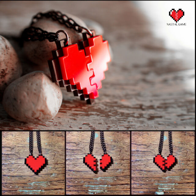 Pixel Heart Acrylic Necklace and Pandent for couple and gamer 8 bits design