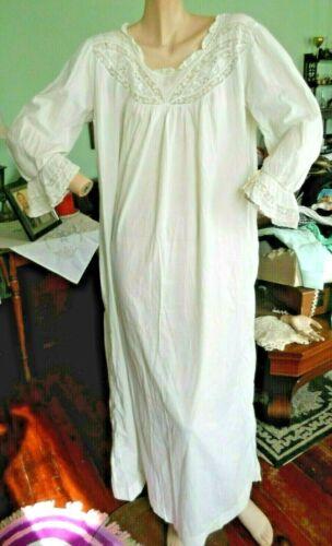 Antique Vtg 1900s white night gown women L/XL cott