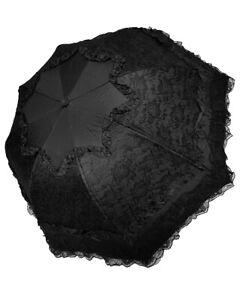 Dark-In-Love-Gothic-Lace-Parasol-Umbrella-Black-Steampunk-Lolita-VTG-Victorian