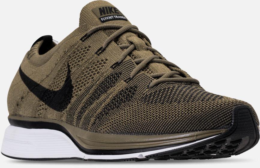Men's Nike Flyknit Trainer Running shoes Olive   Black Sz 11.5 AH8396 200