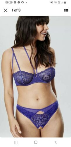 Crotchless Thongs Small Medium Large Ann Summers Fantine Cobolt Blue Bra