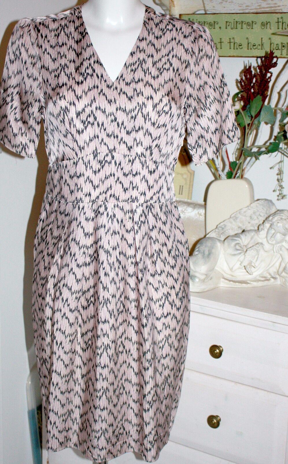 Noa Noa Kleid Dress Printed Cupro Print lila  Kurzarm Größe  S 36  Neu