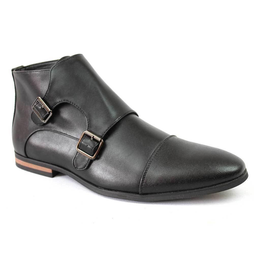 Men's Black 2 Tone Cap Toe Monk Strap Dress Boots Herringbone Oxfords By Azar